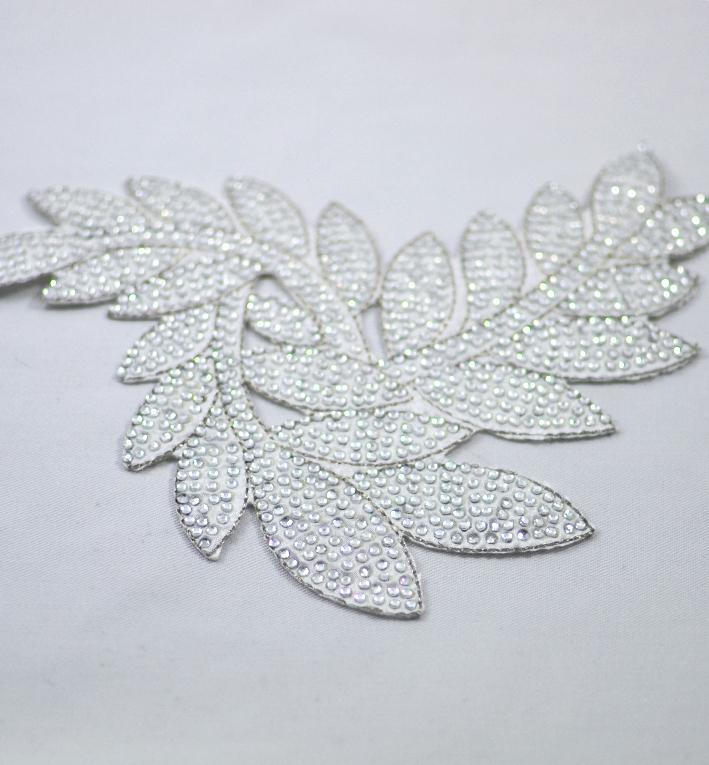μοτιφ θερμοκολλητο φυλλα ασπρα