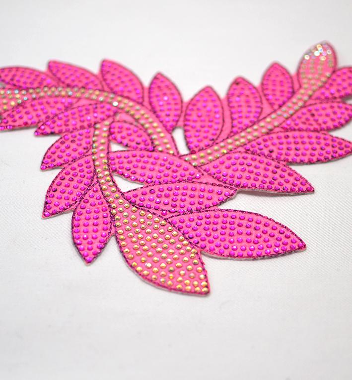 μοτιφ θερμοκολλητο φυλλα ροζ