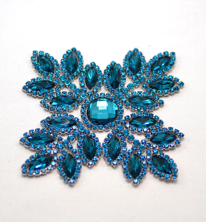 λουλουδι μοτιφ θερμοκολλητο μπλε